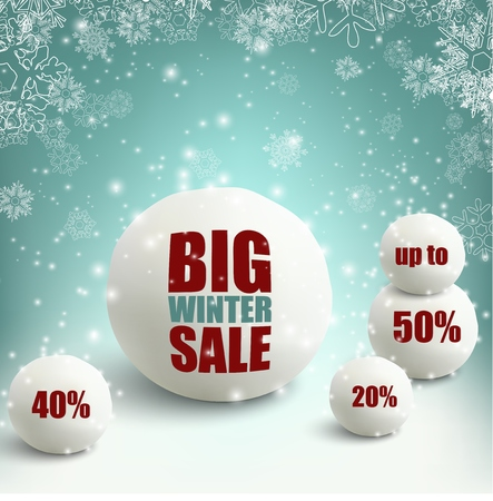palle di neve: Winter sale background with snowballs