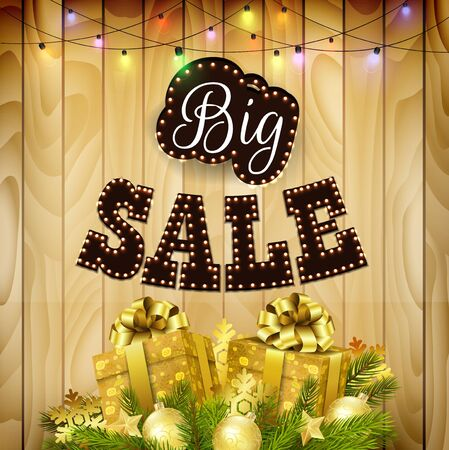 big boxes: Retro design poster for big sale with gift boxes, balls, and pine tree on wood background