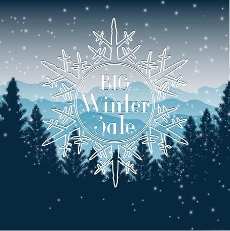 mount price: Winter sale background Illustration