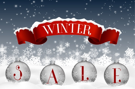 winter snow: Winter sale background with red realistic ribbon banner and balls