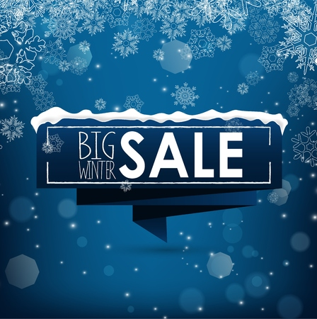 Big winter sale banner over blue background with snow and snowflakes