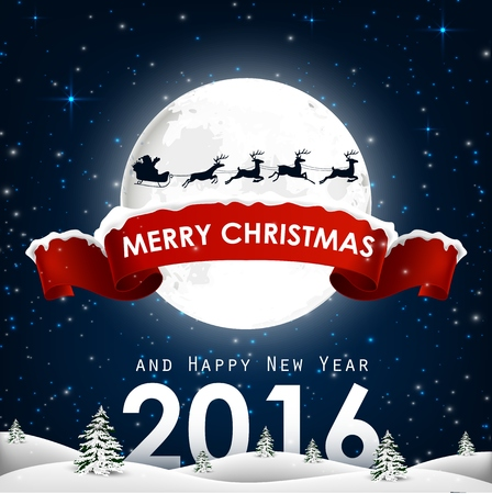 forest animals: Merry Christmas and happy new year background