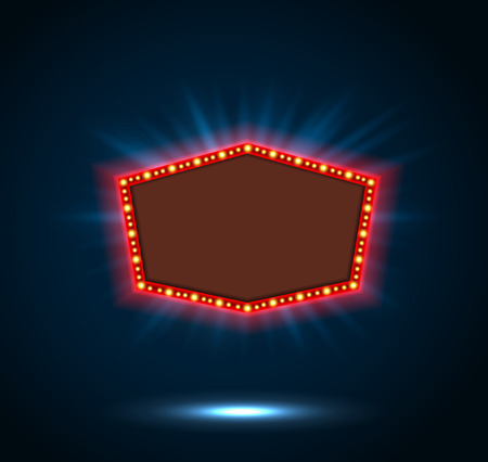 Shining blue retro billboard with space for text blue background Vectores