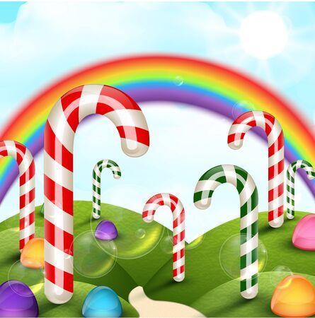 rainbow background: Candy garden background with rainbow