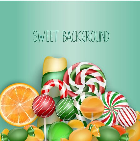 lolipop: Sweet background with lolipop, ice cream, orange and candies Stock Photo