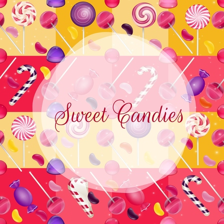 beans: Sweets background with lollipop and jelly beans Stock Photo