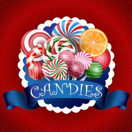 close up food: Colorful candy background with realistic blue ribbon Stock Photo