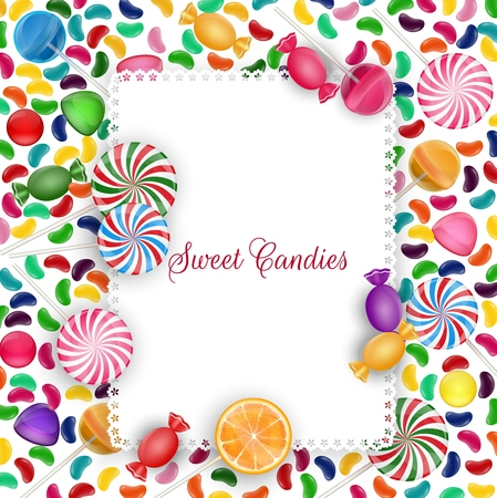 orange slice: Colorful candy background with jelly beans, lolipop and orange slice