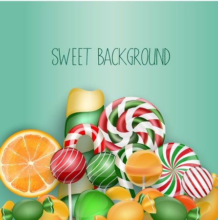 lolipop: Sweet background with lolipop, ice cream, orange and candies Illustration