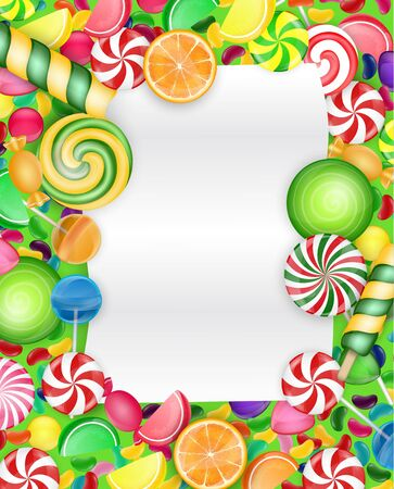 orange slice: Colorful candy background with lollipop and orange slice