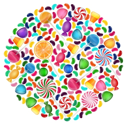 gummy: Colorful candy background with concept circle Illustration