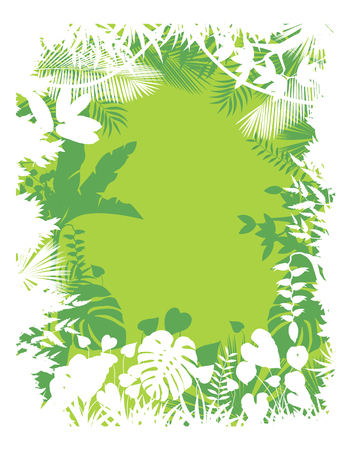 dessin fleur: Feuilles fond de plantes tropicales