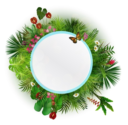 Branches and leaves of tropical plants. Round floral frame with butterflies