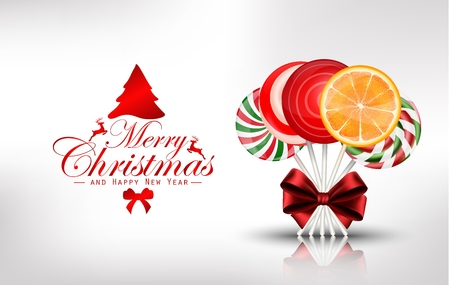 orange slice: Christmas background with lollipop and orange slice