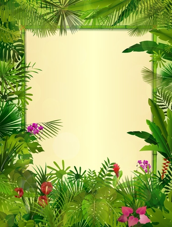 Tropical background with rectangle floral frame in concept bamboo Stock Photo
