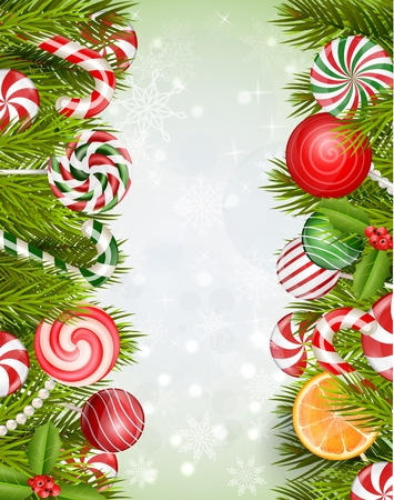 orange slice: Sweets background with lollipop, candy, jelly beans, orange slice and pine tree