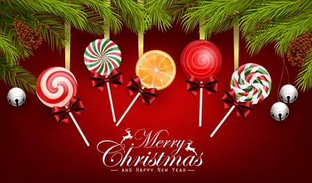 santa claus background: Christmas And Happy New Year with candy and fir tree