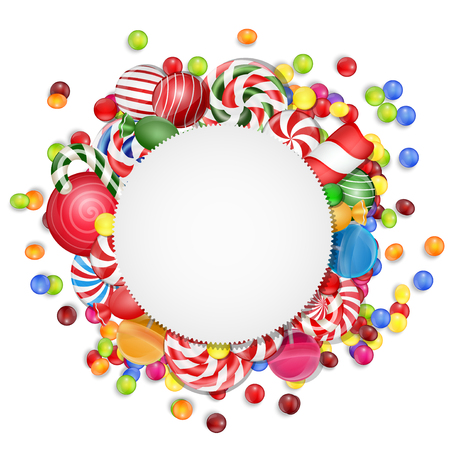 caramel candy: Sweets background with frame candies