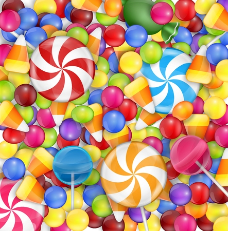 gumballs: Sweets background with lollipop, candy corn and gumballs