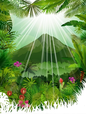 sunrays: Mountains landscape of tropical background with sunrays