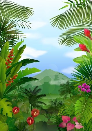 pink hills: Mountains landscape of tropical background Illustration