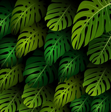 exotic: Exotic pattern with tropical leaves background Stock Photo
