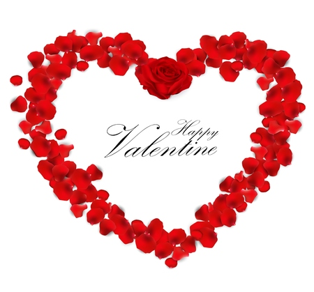 hearty: Valentines day background with rose petals heart Stock Photo
