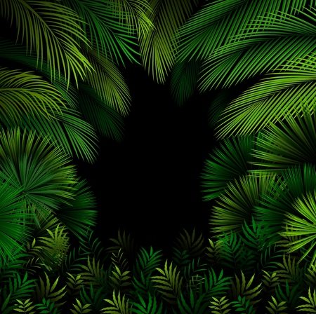 luau: Seamless exotic pattern with tropical leaves on a black background