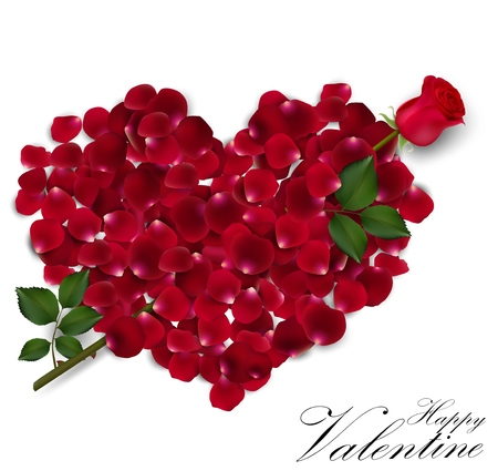 Valentines day background with rose petals heart Ilustração