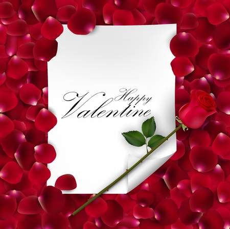 temperate: Pink rose with blank paper for text