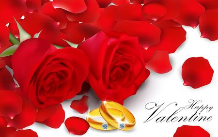 golden ring: Red roses with golden ring on white background Illustration