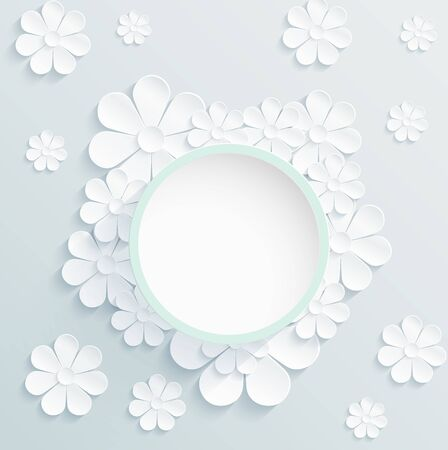 daisy wheel: Beautiful wreath of spring flowers, white daisies Illustration