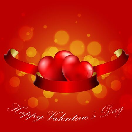 heart design: Valentines Day Concept of heart with realistic red ribbon on red background