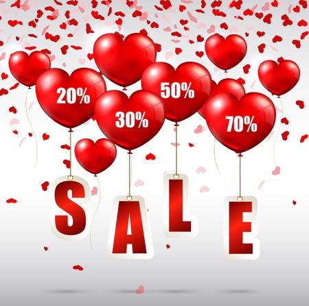 globos en forma de corazón con el anuncio de venta