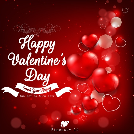 red balloons: Valentines day greeting with red heart balloons Stock Photo