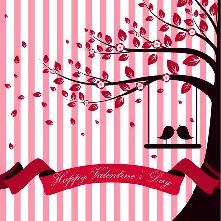 Valentine-dag met de boomherfst en de roze achtergrond van de lint witte roze uitbarsting