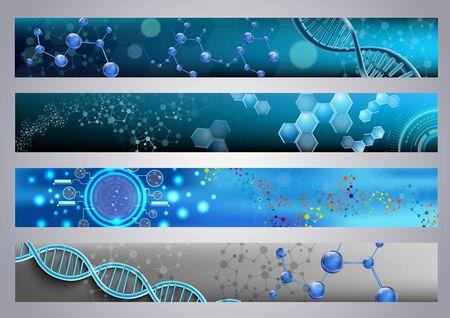 Estructura molecular de ADN y las banderas de fondo
