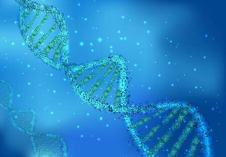 genomes: DNA molecules on sciences on blue background