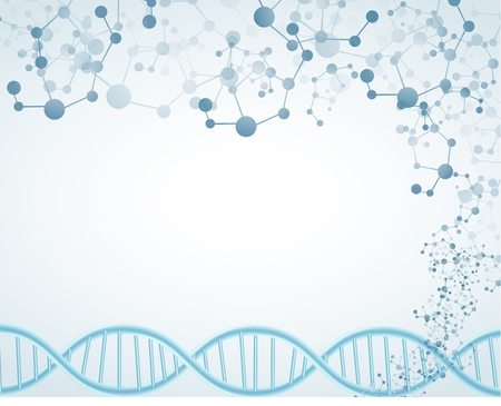 Science on isolated background with DNA theme and molecular Illustration
