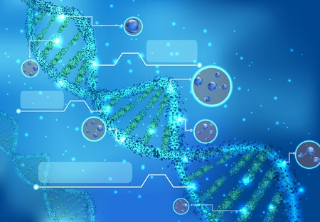 biochemistry: Abstract Concept of biochemistry with dna molecule on blue background