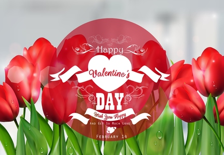 red tulip: Valentine red tulip background with a close up view with a red round label decorated