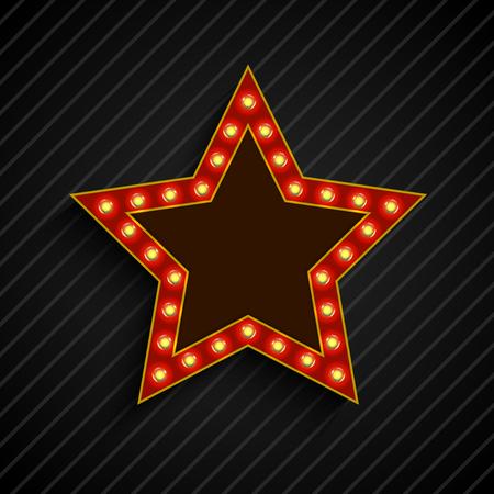 lighting bulb: Lighting bulb star sign on the on black background