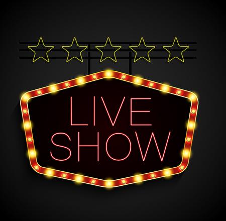 show time: Shining retro light banner on black background