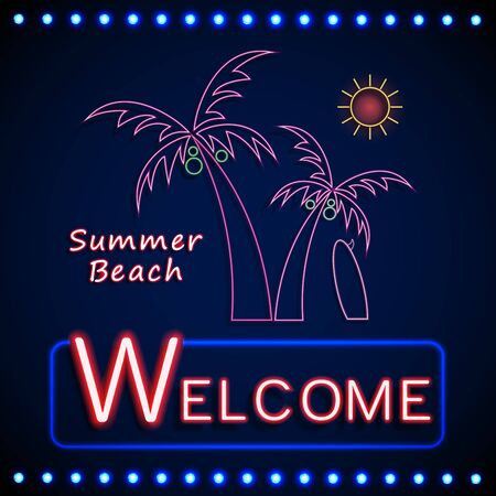 party night: Neon shining beach party with palm tree and sun