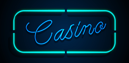 Neon banner on text casino background Vectores
