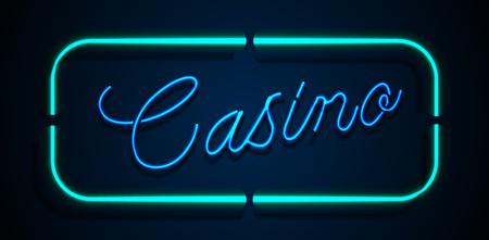 Neon banner on text casino background Vettoriali