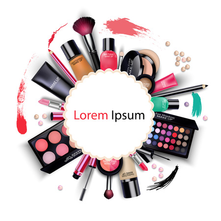 pomade: Sets of cosmetics on isolated background Illustration