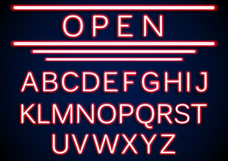 open type font: Set retro neon open signs background