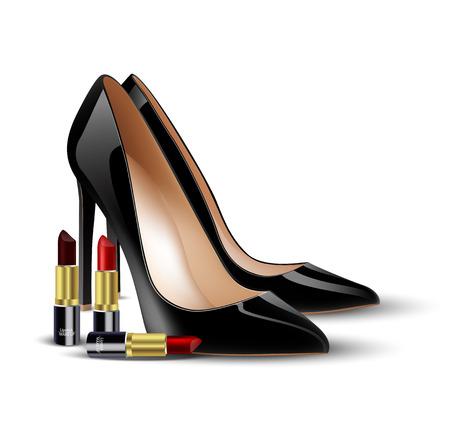Zwarte dame schoenen en lippenstift op geïsoleerde achtergrond
