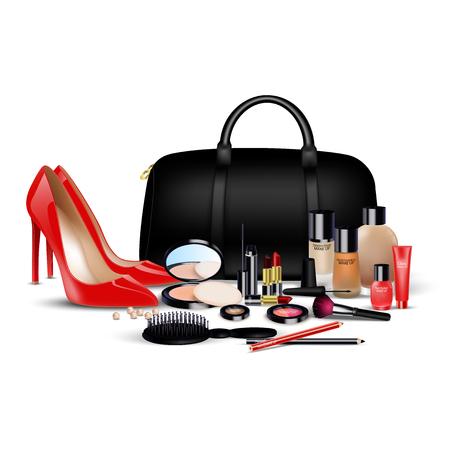 ladies shoes: Set of cosmetics background. Stylish girl